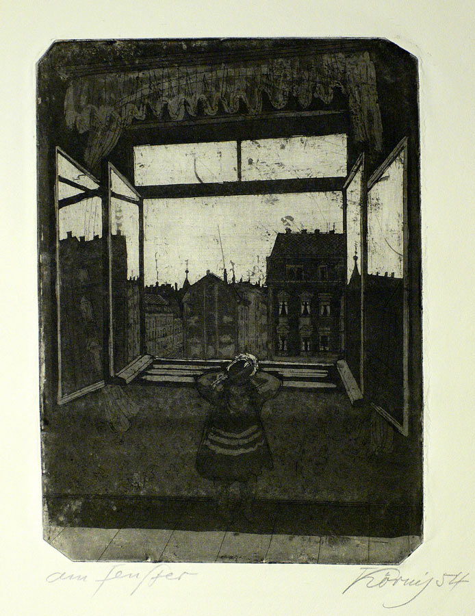 Hans Körnig, Am Fenster, 1954, Radierung / Aquatinta, 32,0 x 23,5 cm